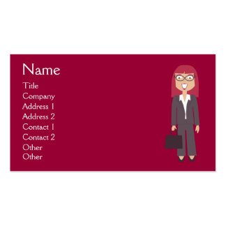 Cute Cartoon Happy Businesswoman Red Custom Pack Of Standard Business Cards