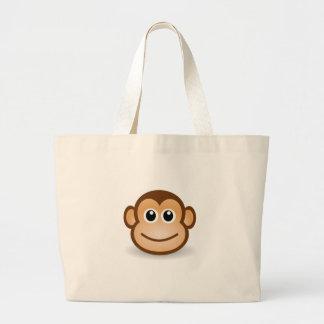 Cute Cartoon Happy Monkey Face Jumbo Tote Bag