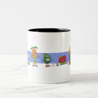 Cute cartoon healthy exercising foods, on a mug. Two-Tone coffee mug