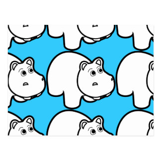 Cute Cartoon Hippo Postcard
