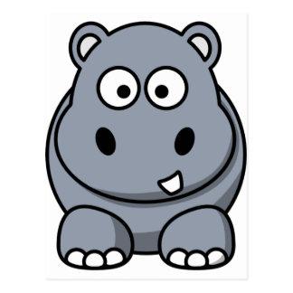 Cute Cartoon Hippo Postcard