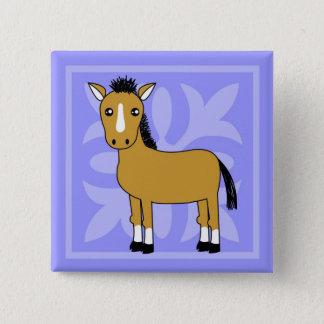 Cute Cartoon Horse Pretty Background 2 Inch Square Button