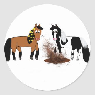 Cute Cartoon Horses playing Classic Round Sticker