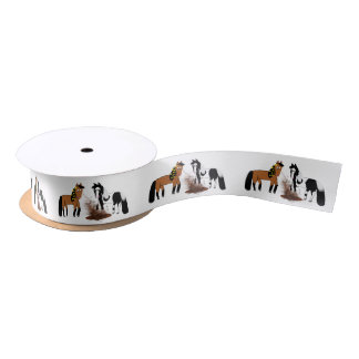 Cute Cartoon Horses playing in the mud Satin Ribbon