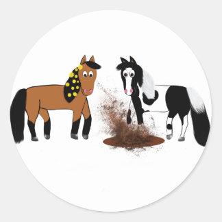 Cute Cartoon Horses playing Round Sticker