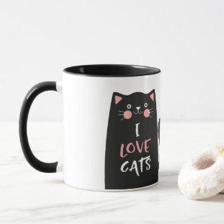 Cute Cartoon I Love Cats Mug