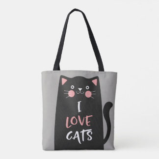 Cute Cartoon I Love Cats Tote Bag