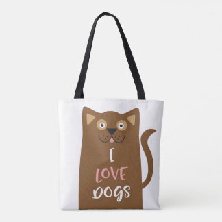 Cute Cartoon I Love Dogs Tote Bag