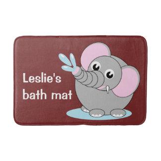 Cute cartoon illustration of a baby gray elephant, bath mat