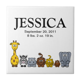 Cute Cartoon Jungle Animals 2 New Baby Name Tile