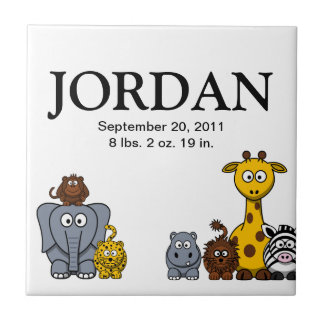 Cute Cartoon Jungle Animals 3 New Baby Name Tile