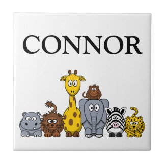 Cute Cartoon Jungle Animals Boy's Name Gift Tile
