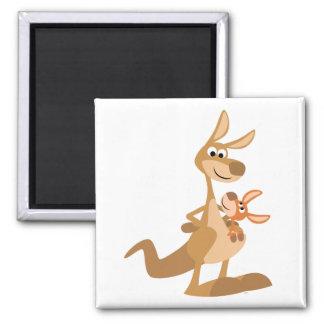 Cute Cartoon Kangaroo Mum and Joey Magnet