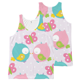 Cute Cartoon Kissing Owls All-Over-Print Tank Top