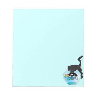 Cute Cartoon Kitten, Fish and bowl Notepad