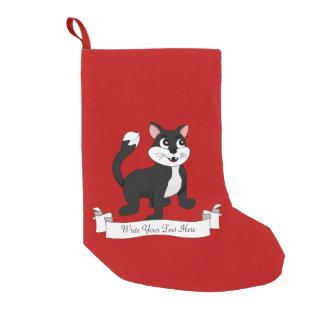 Cute cartoon kitten small christmas stocking