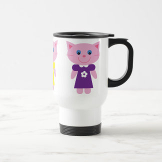 Cute Cartoon Kittens In Colorful Dresses Custom Travel Mug