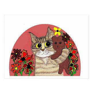 cute cartoon kitty holding sweet teddybear postcard