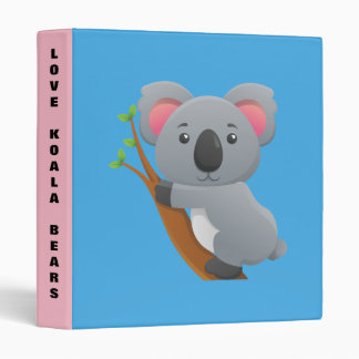 Cute cartoon Koala bear background 3 Ring Binders
