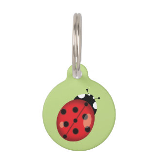 Cute Cartoon Ladybug On Green With Dog's Info Pet ID Tag
