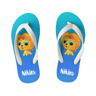 Cute cartoon leo aqua back kid's flip flops