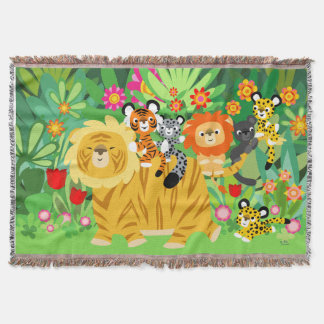 Cute Cartoon Liger and Friends Throw Blanket