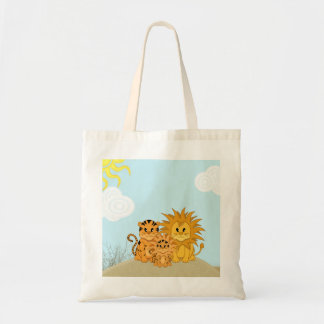 Cute Cartoon Liger with Mummy and Daddy Tote Bag