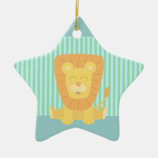 Cute Cartoon Lion with stripes background Ceramic Ornament