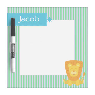 Cute Cartoon Lion with stripes background Dry Erase Board