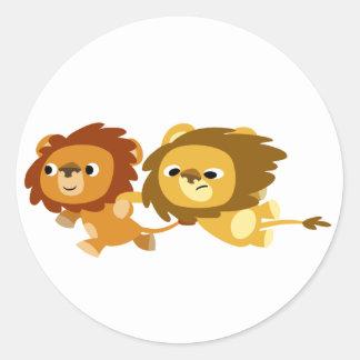 Cute Cartoon Lions in a Hurry Sticker