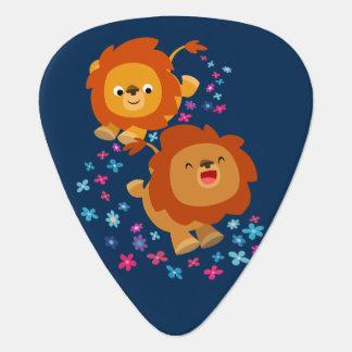 Cute Cartoon Lions In The Garden Guitar Pick