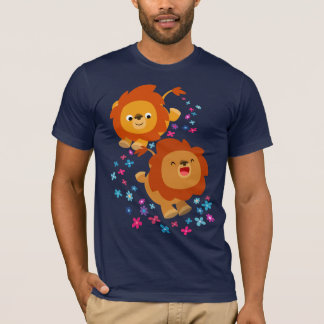 Cute Cartoon Lions In The Garden T-Shirt