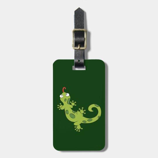 cute cartoon lizard luggage tag