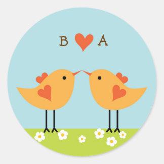 Cute Cartoon Love Birds (Day) Wedding Classic Round Sticker