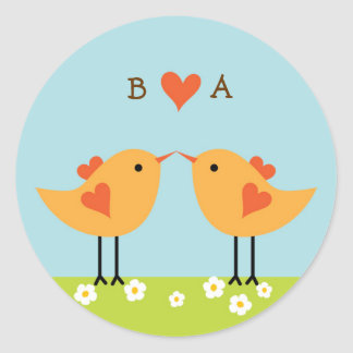 Cute Cartoon Love Birds (Day) Wedding Round Sticker
