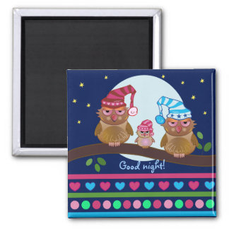 Cute cartoon magnet with sleepy Owl family
