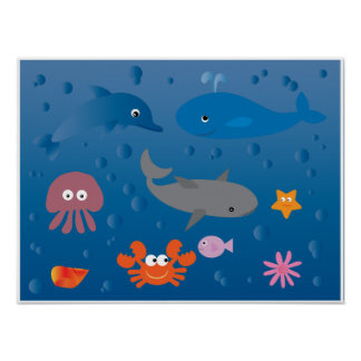 Cute cartoon marine life poster for kids
