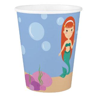 Cute cartoon mermaid girl swimming underwater cup