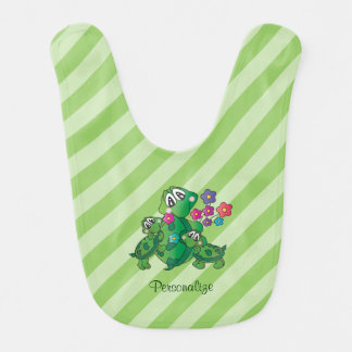 Cute Cartoon Momma Turtle and her Babies Bib
