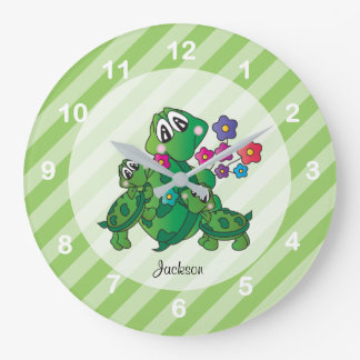 Cute Cartoon Momma Turtle and her Babies Large Clock