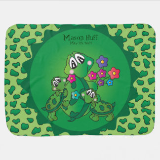 Cute Cartoon Momma Turtle and her Babies Swaddle Blankets
