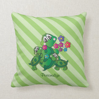 Cute Cartoon Momma Turtle and her Babies Throw Pillow