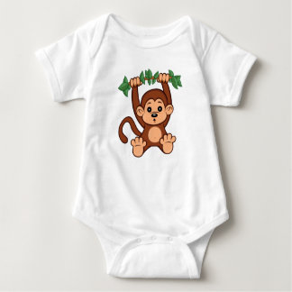 Cute Cartoon Monkey Baby Bodysuit