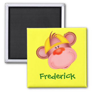 Cute Cartoon Monkey Face Personalized Name Gift Magnet