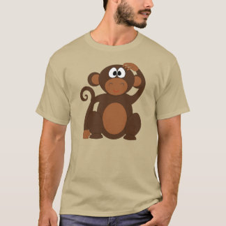 Cute Cartoon Monkey Scratching Head T-Shirt