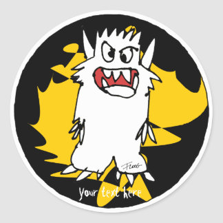 Cute Cartoon Monster Gold Personalized Labels Round Sticker