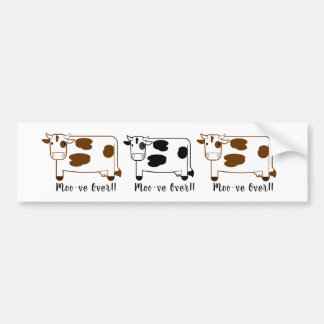 "Cute Cartoon ""Moo-ve Over"" Dairy Cows Bumper Sticker"