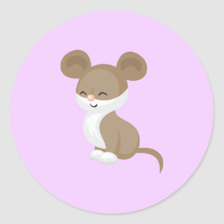 Cute Cartoon Mouse Classic Round Sticker