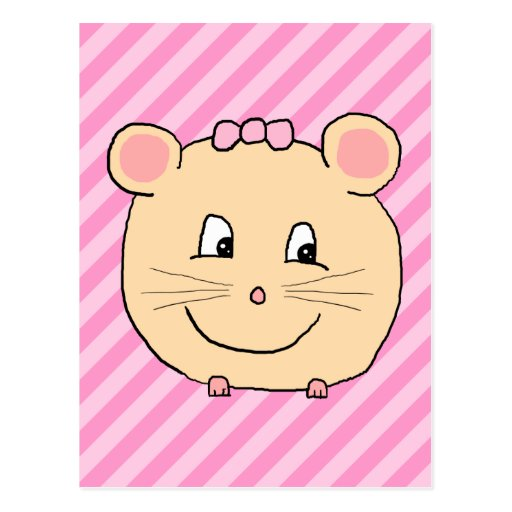 Cute Cartoon Mouse on Pink Stripes. Postcards