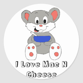 Cute Cartoon Mouse Round Sticker